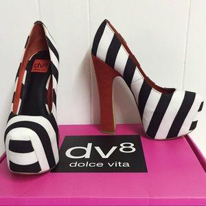 "8 DOLCE VITA Rare ""Vixen"" Striped Platform Heels"